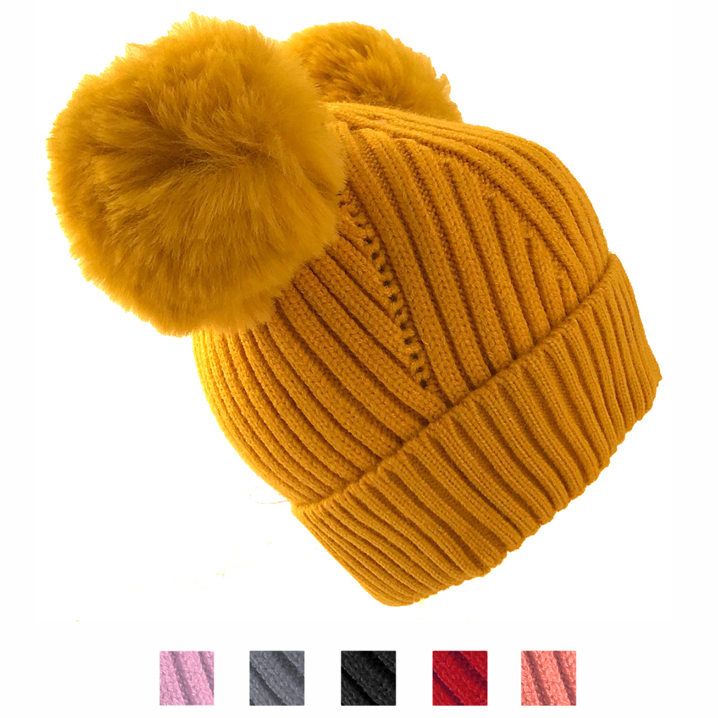 Baby Toddler Kids Girls Cotton Lined Pompom Ears Knit Beanie Hat Cap