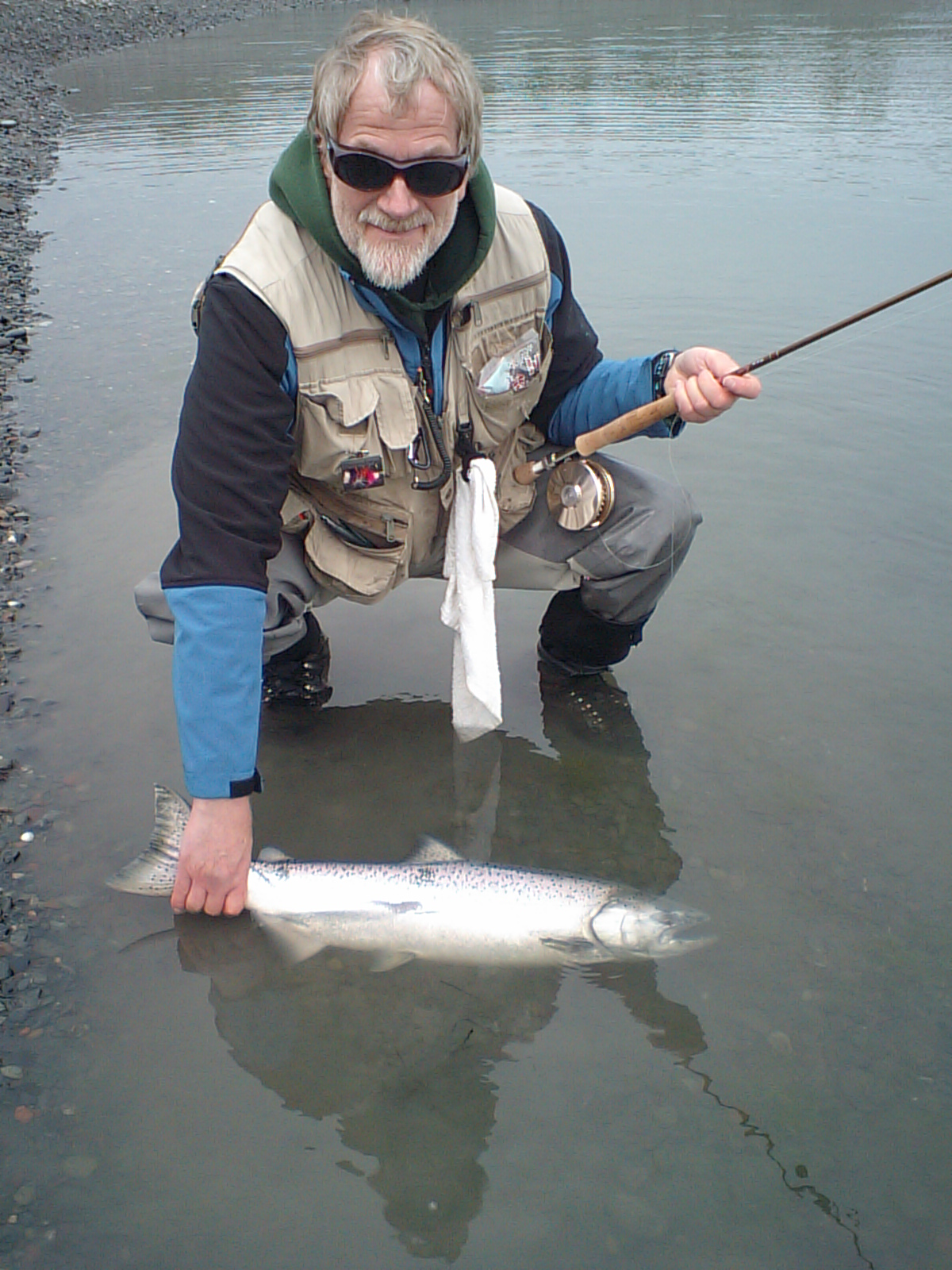 Gary lands a King at the Nick Dudiak Fishing Lagoon.