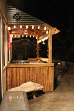 The tiki Bar! Complete with barbecue, mini fridge, microwave, sink, and counter space for cooking. Bottoms up!