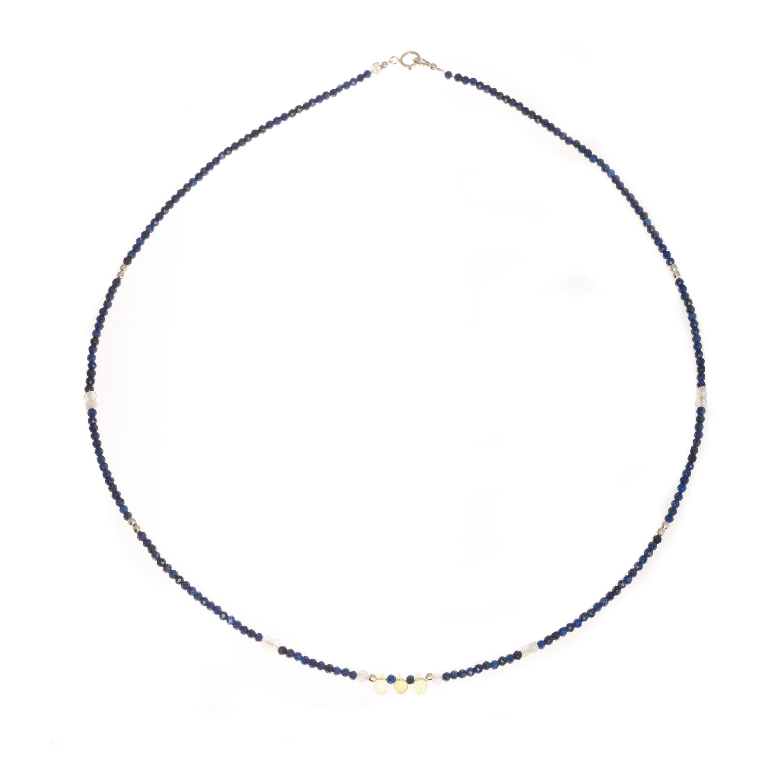 Collar mineral lapislázuli y olivina
