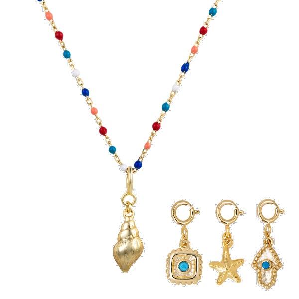Collar Rosario Charms Enamel multicolor