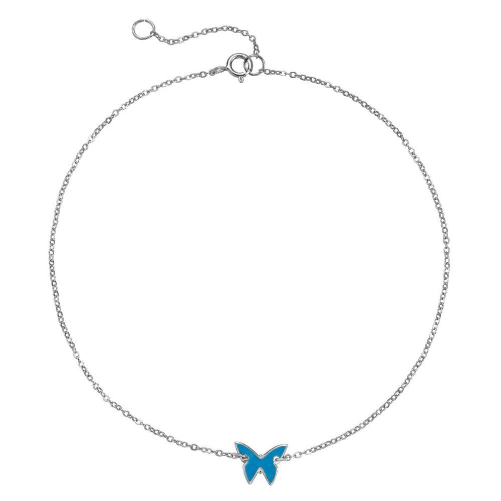 Tobillera mariposa turquesa plata