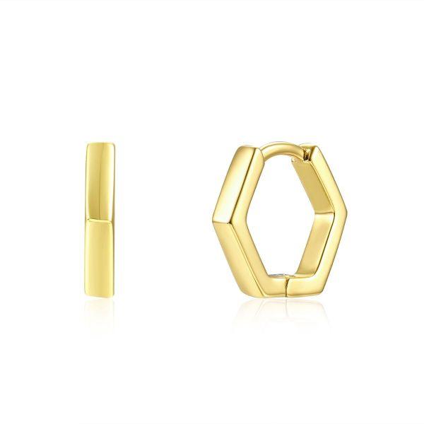 Pendiente Aro Hexagonal Baño de Oro