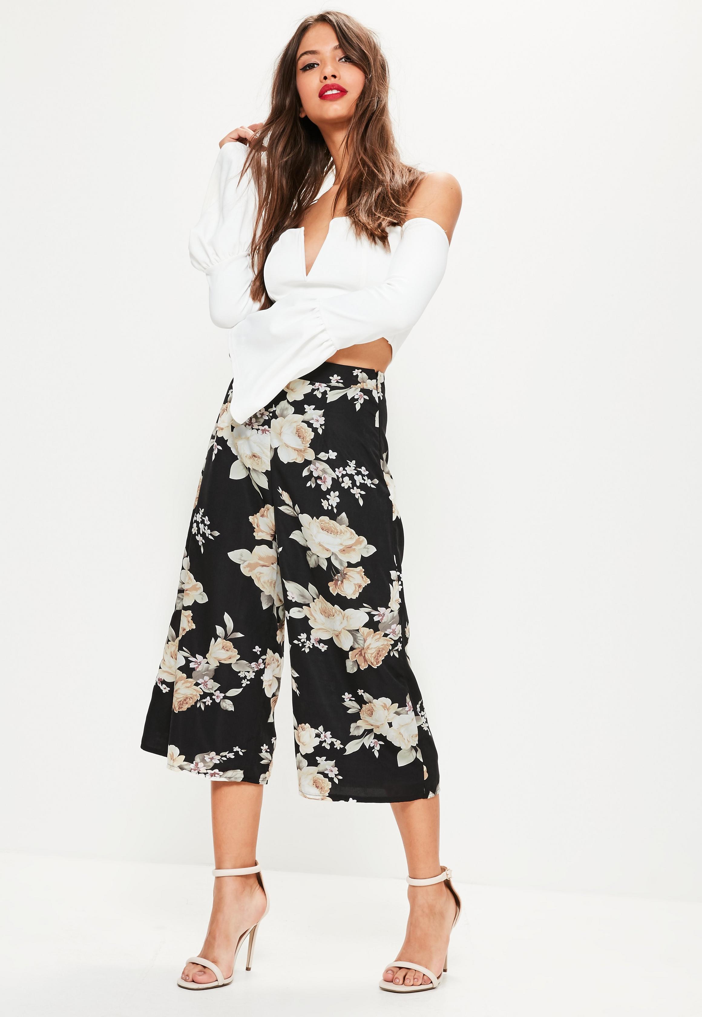 black-floral-print-culottes