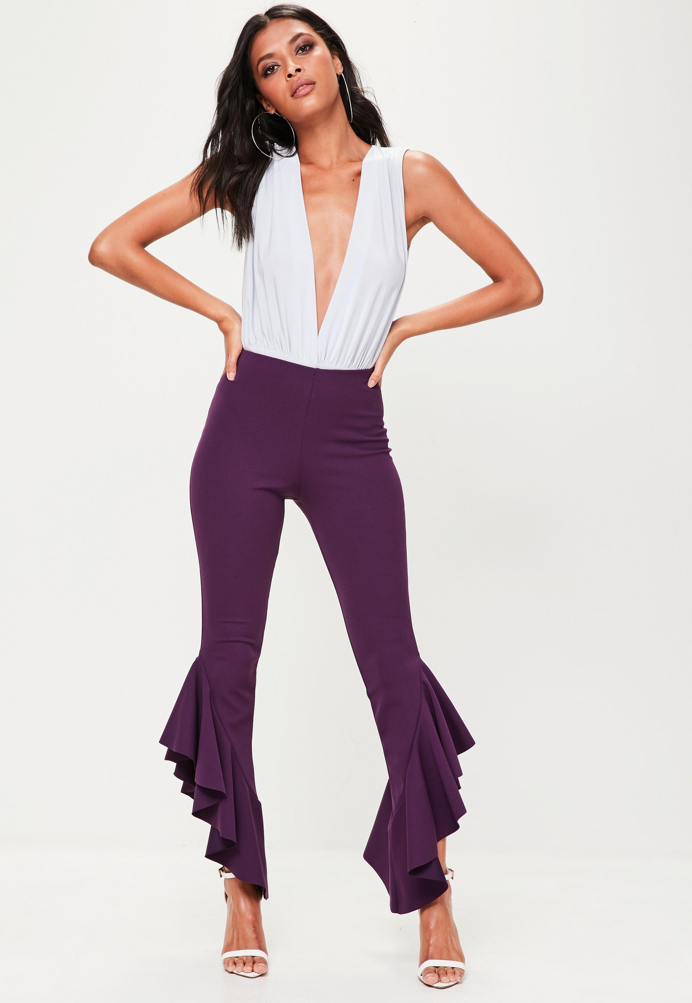 purple-asymmetric-frill-side-cigarette-trousers