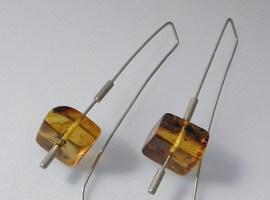 061 - Square Amber Earrings