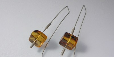 061 - Square Amber Earrings
