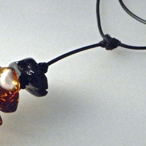 635 - Raw Amber Pendant On 32 Leather