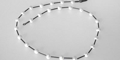 793 - Single Pearl Necklace Oxidized