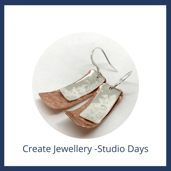 Create jewellery -Studio Days - Copper and Silver earrings
