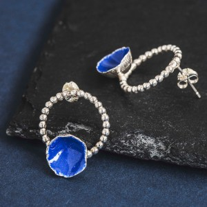 Silverkupe Blue Seed Hoop Earrings