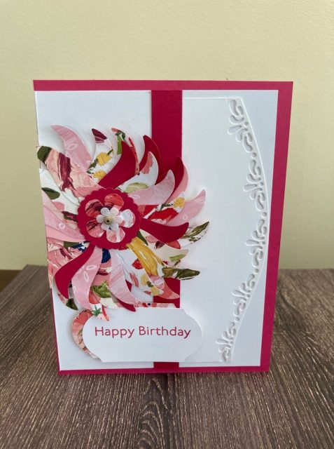 Flower petal card made with Tulip Builder punch, Melon Mambo cardstock and Fine Floral DSP.