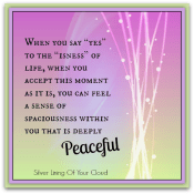 """When you say """"yes"""" to the """"isness"""" of life, when you accept this moment as it is, you can feel a sense of spaciousness within you that is deeply peaceful. ~Eckhart Tolle"""