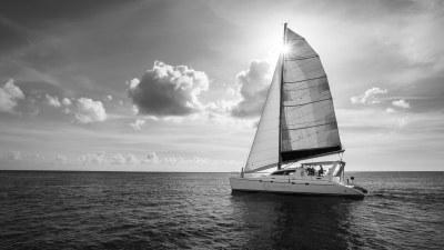 Catamaran sailing in Barbados