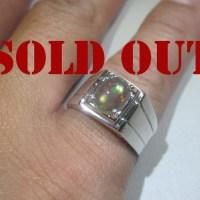 Color Play Pelangi!!! Cincin Perak Lapis Emas Putih dengan Batu Opal