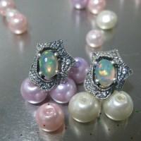 AOW-001: Opal 1.10ct pd Anting Perak 3.80gr
