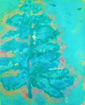 CHRISTMAS IN VERDIGRIS, acrylic on canvas, 12x10'' - 30x25cm, £80 FOR SALE
