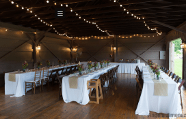 long tables with flowers
