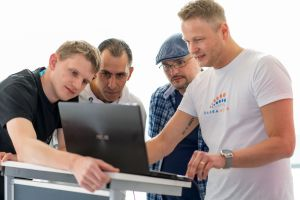 Martin Hillenbrand, Peter Oertwig, Adi Ionescu und Stefan Beier auf dem Babba Business Day 2019 in Großostheim