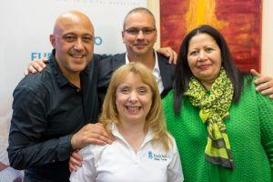 Wassili Birbilis, Erick Salgado, Shelly Turner (Builderall Diva) und eine weitere Teilnehmerin auf dem Builderall Everest 2019 in Nürnberg (Germany)