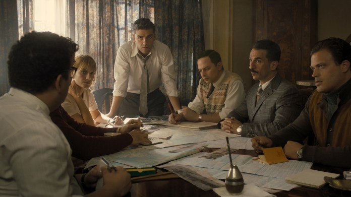 (From L to R) Mélanie Laurent as Hanna Regev, Oscar Isaac as Peter Malkin, Nick Kroll as Rafi Eitan, Michael Aronov as Zvi Aharoni, and Greg Hill as Moshe Tabor in OPERATION FINALE, written by Matthew Orton and directed by Chris Weitz, a Metro Goldwyn Mayer Pictures film. Credit: Metro Goldwyn Mayer Pictures