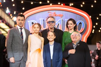 "(L-R) Colin Farrell, Nico Parker, Tim Burton, Finley Hobbins, Eva Green and Danny DeVito attend the European Premiere of Disney's ""Dumbo"" on February 27, 2019 in London, UK"