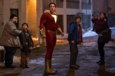 """SHAZAM! Copyright: © 2019 WARNER BROS. ENTERTAINMENT INC. Photo Credit: Photo by Steve Wilkie/ & © DC Comics Caption: (L-r) JOVAN ARMAND as Pedro Pena, IAN CHEN as Eugene Choi, ZACHARY LEVI as Shazam, JACK DYLAN GRAZER as Freddy Freeman, FAITHE HERMAN as Darla Dudley and GRACE FULTON as Mary Bromfiels in New Line Cinema's action adventure """"SHAZAM!,"""" a Warner Bros. Pictures release."""