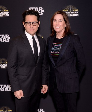"""CHICAGO, IL - APRIL 12: Director J.J. Abrams (L) and Producer Kathleen Kennedy attend """"The Rise of Skywalker"""" panel at the Star Wars Celebration at McCormick Place Convention Center on April 12, 2019 in Chicago, Illinois. (Photo by Daniel Boczarski/Getty Images for Disney ) *** Local Caption *** J.J. Abrams; Kathleen Kennedy"""