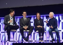 """CHICAGO, IL - APRIL 12: (L-R) Moderator Stephen Colbert, Director J.J. Abrams, Producer Kathleen Kennedy and Anthony Daniels (C-3PO) onstage during """"The Rise of Skywalker"""" panel at the Star Wars Celebration at McCormick Place Convention Center on April 12, 2019 in Chicago, Illinois. (Photo by Daniel Boczarski/Getty Images for Disney ) *** Local Caption *** Anthony Daniels; Stephen Colbert; J.J. Abrams; Kathleen Kennedy"""