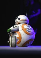 """CHICAGO, IL - APRIL 12: D-O (L) and BB-8 onstage during """"The Rise of Skywalker"""" panel at the Star Wars Celebration at McCormick Place Convention Center on April 12, 2019 in Chicago, Illinois. (Photo by Daniel Boczarski/Getty Images for Disney ) *** Local Caption *** BB-8; D-O"""