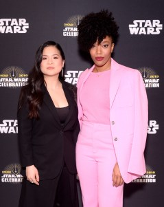 """CHICAGO, IL - APRIL 12: Kelly Marie Tran (Rose Tico) (L) and Naomi Ackie (Jannah) attend """"The Rise of Skywalker"""" panel at the Star Wars Celebration at McCormick Place Convention Center on April 12, 2019 in Chicago, Illinois. (Photo by Daniel Boczarski/Getty Images for Disney ) *** Local Caption *** Naomi Ackie; Kelly Marie Tran"""