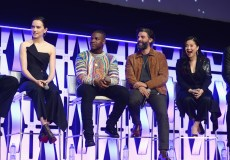 """CHICAGO, IL - APRIL 12: (L-R) Daisy Ridley (Rey), John Boyega (Finn), Oscar Isaac (Poe Dameron) and Kelly Marie Tran (Rose Tico) onstage during """"The Rise of Skywalker"""" panel at the Star Wars Celebration at McCormick Place Convention Center on April 12, 2019 in Chicago, Illinois. (Photo by Daniel Boczarski/Getty Images for Disney ) *** Local Caption *** Kelly Marie Tran; Daisy Ridley; John Boyega; Oscar Isaac"""