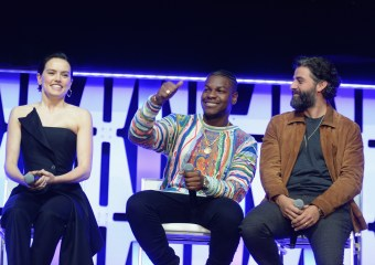 """CHICAGO, IL - APRIL 12: (L-R) Daisy Ridley (Rey), John Boyega (Finn) and Oscar Isaac (Poe Dameron) onstage during """"The Rise of Skywalker"""" panel at the Star Wars Celebration at McCormick Place Convention Center on April 12, 2019 in Chicago, Illinois. (Photo by Daniel Boczarski/Getty Images for Disney ) *** Local Caption *** Oscar Isaac; Daisy Ridley; John Boyega"""