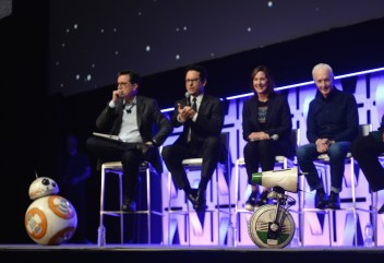 """CHICAGO, IL - APRIL 12: (L-R) Moderator Stephen Colbert, Director J.J. Abrams, Producer Kathleen Kennedy and Anthony Daniels (C-3PO) with BB-8 and D-O in the foreground onstage during """"The Rise of Skywalker"""" panel at the Star Wars Celebration at McCormick Place Convention Center on April 12, 2019 in Chicago, Illinois. (Photo by Daniel Boczarski/Getty Images for Disney ) *** Local Caption *** Anthony Daniels; Stephen Colbert; J.J. Abrams; Kathleen Kennedy; BB-8; D-O"""
