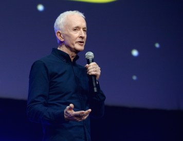 """CHICAGO, IL - APRIL 12: Anthony Daniels (C-3PO) onstage during """"The Rise of Skywalker"""" panel at the Star Wars Celebration at McCormick Place Convention Center on April 12, 2019 in Chicago, Illinois. (Photo by Daniel Boczarski/Getty Images for Disney ) *** Local Caption *** Anthony Daniels"""