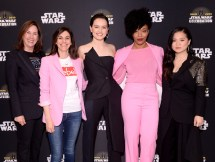 """CHICAGO, IL - APRIL 12: (L-R) Producers Kathleen Kennedy, Michelle Rejwan, Daisy Ridley (Rey), Naomi Ackie (Jannah) and Kelly Marie Tran (Rose Tico) attend """"The Rise of Skywalker"""" panel at the Star Wars Celebration at McCormick Place Convention Center on April 12, 2019 in Chicago, Illinois. (Photo by Daniel Boczarski/Getty Images for Disney ) *** Local Caption *** Kelly Marie Tran; Kathleen Kennedy; Michelle Rejwan; Daisy Ridley; Naomi Ackie"""
