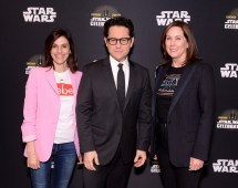 """CHICAGO, IL - APRIL 12: (L-R) Producer Michelle Rejwan, Director J.J. Abrams and Producer Kathleen Kennedy attend """"The Rise of Skywalker"""" panel at the Star Wars Celebration at McCormick Place Convention Center on April 12, 2019 in Chicago, Illinois. (Photo by Daniel Boczarski/Getty Images for Disney ) *** Local Caption *** Michelle Rejwan; J.J. Abrams; Kathleen Kennedy"""