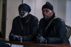"SHAFT Copyright: © 2019 WARNER BROS. ENTERTAINMENT INC. Photo Credit: Kyle Kaplan Caption: (L-R) RICHARD ROUNDTREE as John Shaft, Sr. and SAMUEL L. JACKSON as John Shaft in New Line Cinema's action comedy ""SHAFT,"" a Warner Bros. Pictures release."