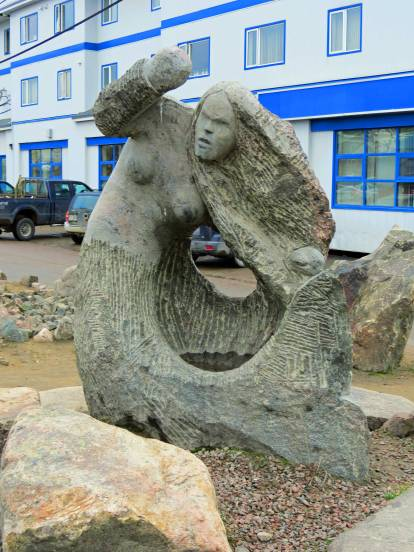 Iqualuit carving- I'm guessing from her expression and fingerless hands that this is Nuliajuk