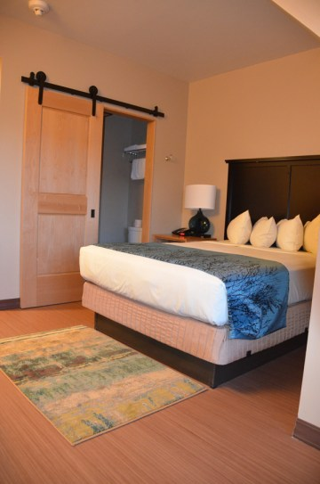 A splurge, but worth it- comfy, quiet room in Canyon Lodge (Moran Lodge building).