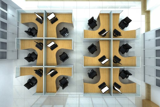 Over head view of twelve office cubicles and chairs.