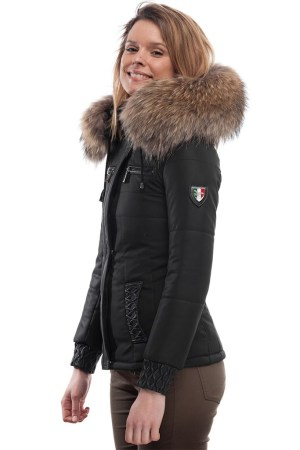PUFFER JACKET IN BLACK FABRIC AND BLACK LEATHER WITH FUR