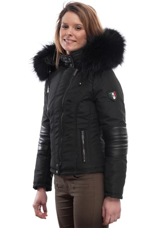 PUFFER JACKET IN FABRIC WITH BLACK LEATHER AND FUR