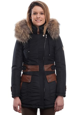 PUFFER JACKET IN BLUE FABRIC WITH COFFEE BROWN