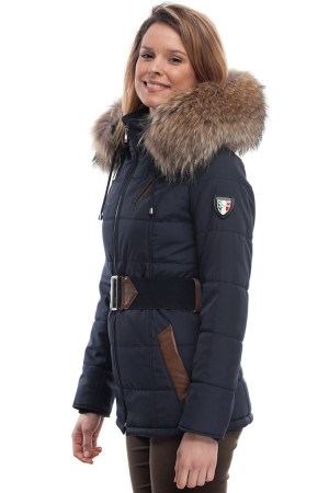 PUFFER JACKET IN BLUE FABRIC WITH BROWN LEATHER AND FUR