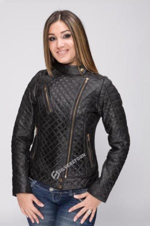 Women's Quilted Leather Biker Jacket Stylish Super Soft Fitted Jacket