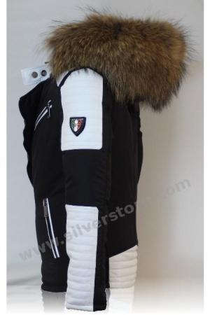 Puffer Jacket in White Leather with Fur