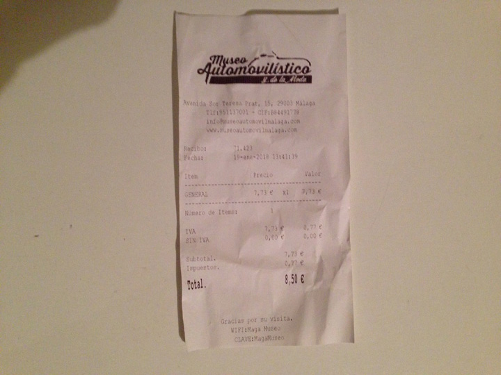 Automobile & Fashion Museum Entrance Receipt