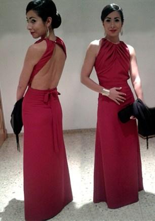 Vestido largo marsala