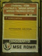 roma, affissione abusiva